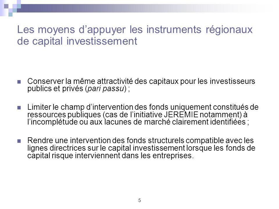 5 Les moyens dappuyer les instruments régionaux de capital investissement Conserver la même attractivité des capitaux pour les investisseurs publics e