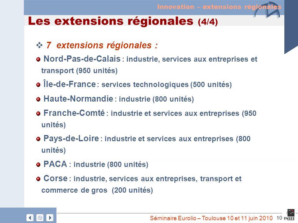 10 Séminaire Eurolio – Toulouse 10 et 11 juin 2010 Les extensions régionales (4/4) 7 extensions régionales : Nord-Pas-de-Calais : industrie, services
