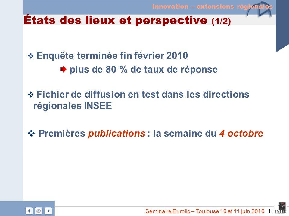 11 Séminaire Eurolio – Toulouse 10 et 11 juin 2010 États des lieux et perspective (1/2) Enquête terminée fin février 2010 plus de 80 % de taux de répo
