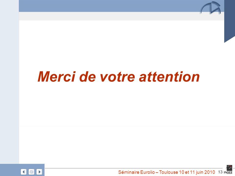 13 Séminaire Eurolio – Toulouse 10 et 11 juin 2010 Merci de votre attention