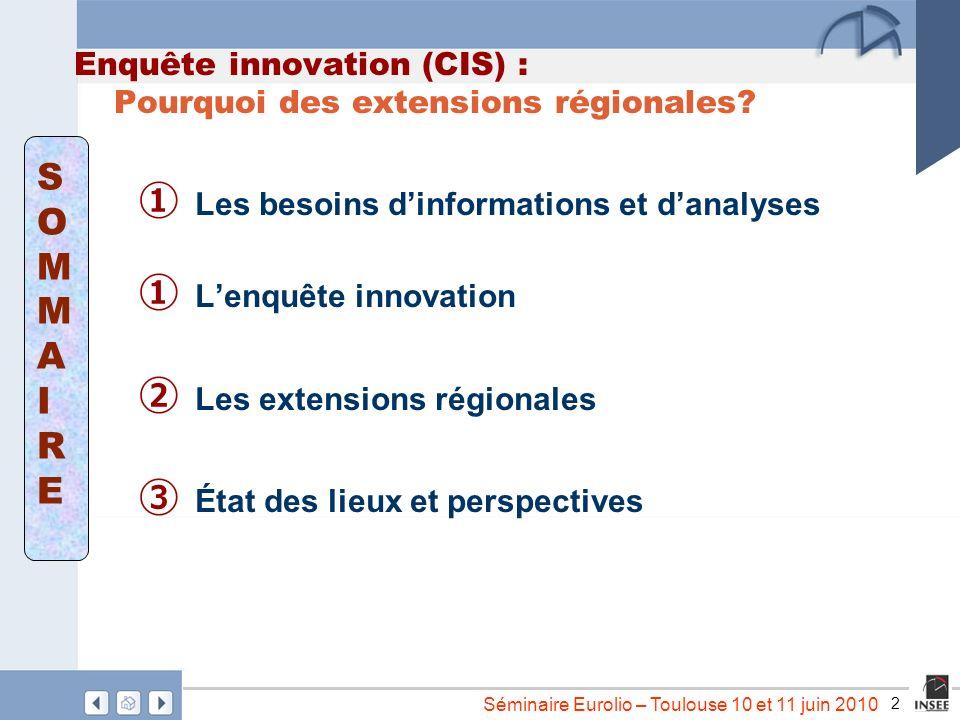 2 Séminaire Eurolio – Toulouse 10 et 11 juin 2010 Enquête innovation (CIS) : Pourquoi des extensions régionales? Les besoins dinformations et danalyse