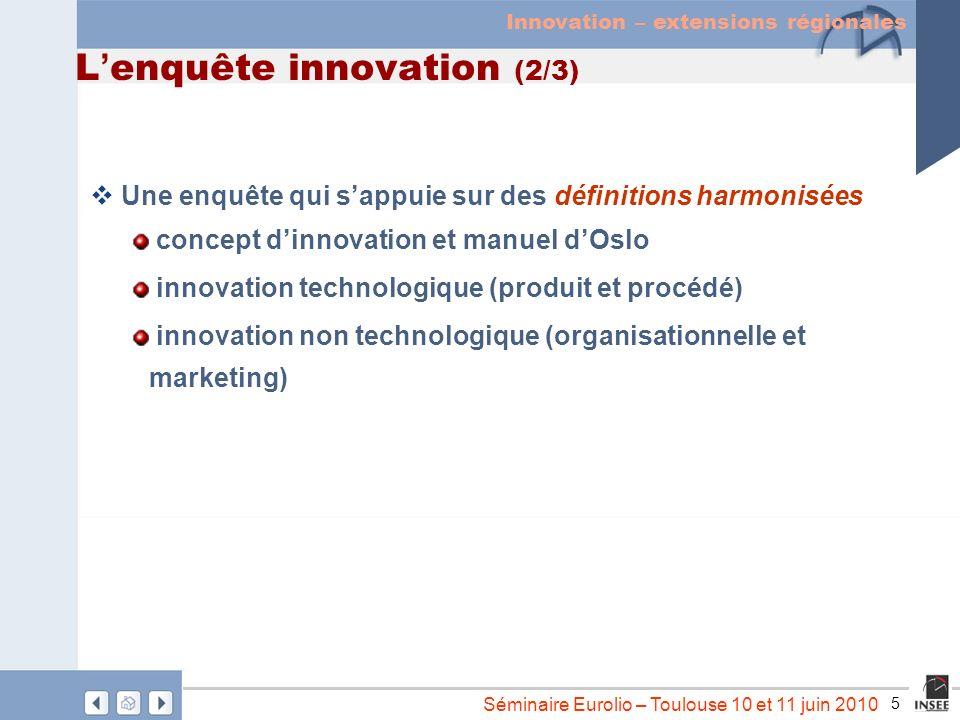 5 Séminaire Eurolio – Toulouse 10 et 11 juin 2010 L enquête innovation (2/3) Une enquête qui sappuie sur des définitions harmonisées concept dinnovati