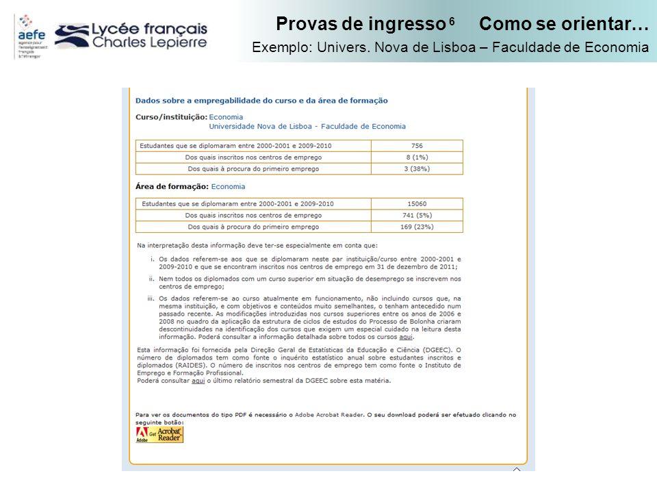 Provas de ingresso 6 Como se orientar… Exemplo: Univers. Nova de Lisboa – Faculdade de Economia