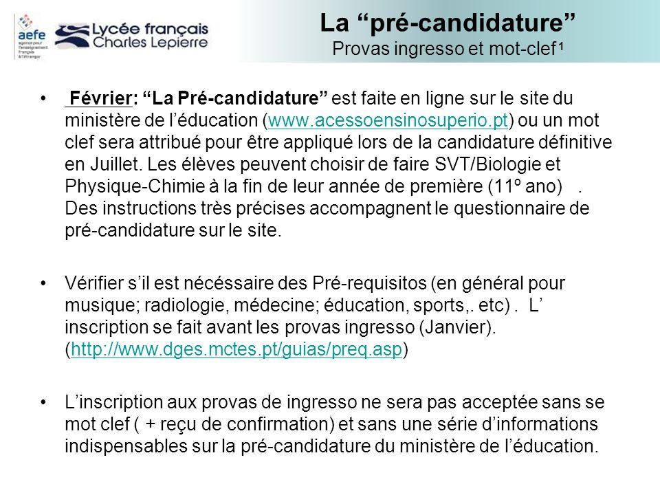 La pré-candidature Provas ingresso et mot-clef 1 Février: La Pré-candidature est faite en ligne sur le site du ministère de léducation (www.acessoensi
