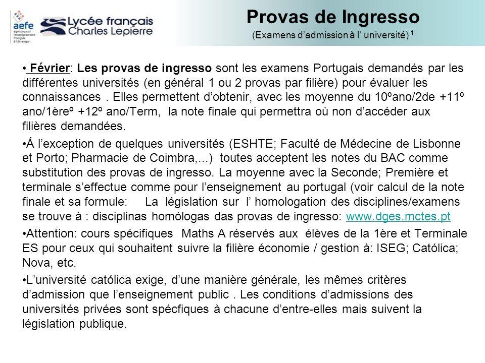 Provas de Ingresso (Examens dadmission à l université) 1 Février: Les provas de ingresso sont les examens Portugais demandés par les différentes unive