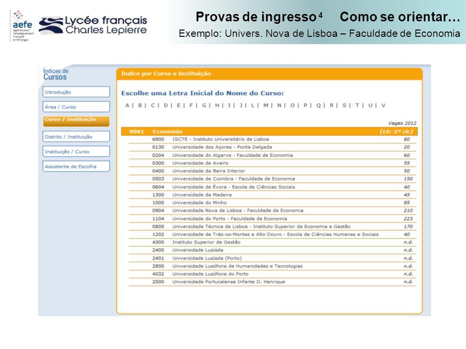 Provas de ingresso 4 Como se orientar… Exemplo: Univers. Nova de Lisboa – Faculdade de Economia