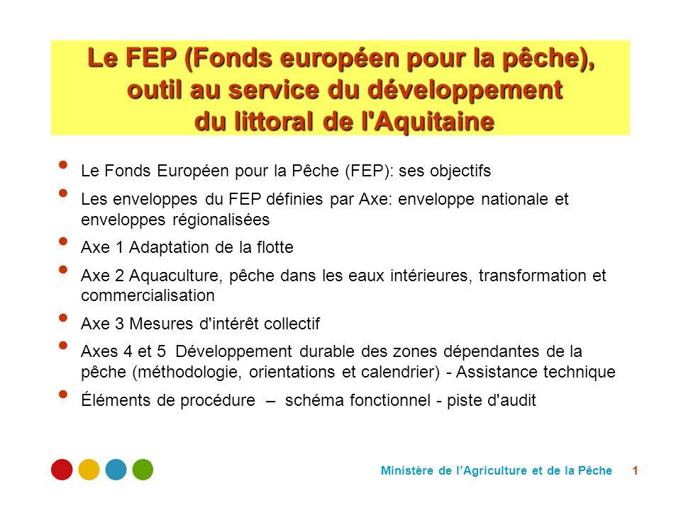 Ministère de lAgriculture et de la Pêche 1 Le FEP (Fonds européen pour la pêche), outil au service du développement du littoral de l Aquitaine Le Fonds Européen pour la Pêche (FEP): ses objectifs Les enveloppes du FEP définies par Axe: enveloppe nationale et enveloppes régionalisées Axe 1 Adaptation de la flotte Axe 2 Aquaculture, pêche dans les eaux intérieures, transformation et commercialisation Axe 3 Mesures d intérêt collectif Axes 4 et 5 Développement durable des zones dépendantes de la pêche (méthodologie, orientations et calendrier) - Assistance technique Éléments de procédure – schéma fonctionnel - piste d audit