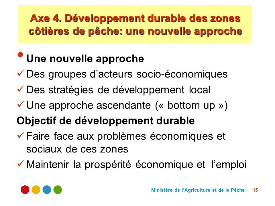 Ministère de lAgriculture et de la Pêche 15 Une nouvelle approche Des groupes dacteurs socio-économiques Des stratégies de développement local Une app