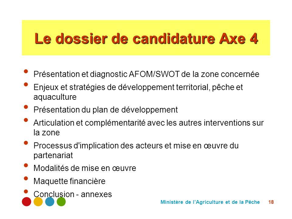 Ministère de lAgriculture et de la Pêche 18 Le dossier de candidature Axe 4 Présentation et diagnostic AFOM/SWOT de la zone concernée Enjeux et straté