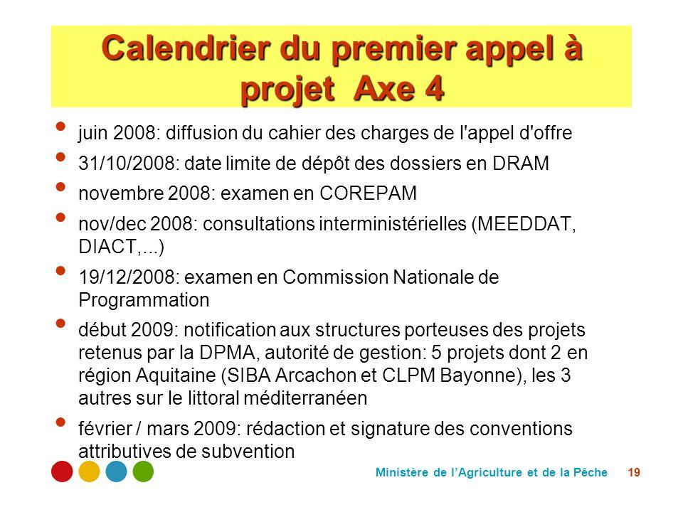 Ministère de lAgriculture et de la Pêche 19 Calendrier du premier appel à projet Axe 4 juin 2008: diffusion du cahier des charges de l'appel d'offre 3