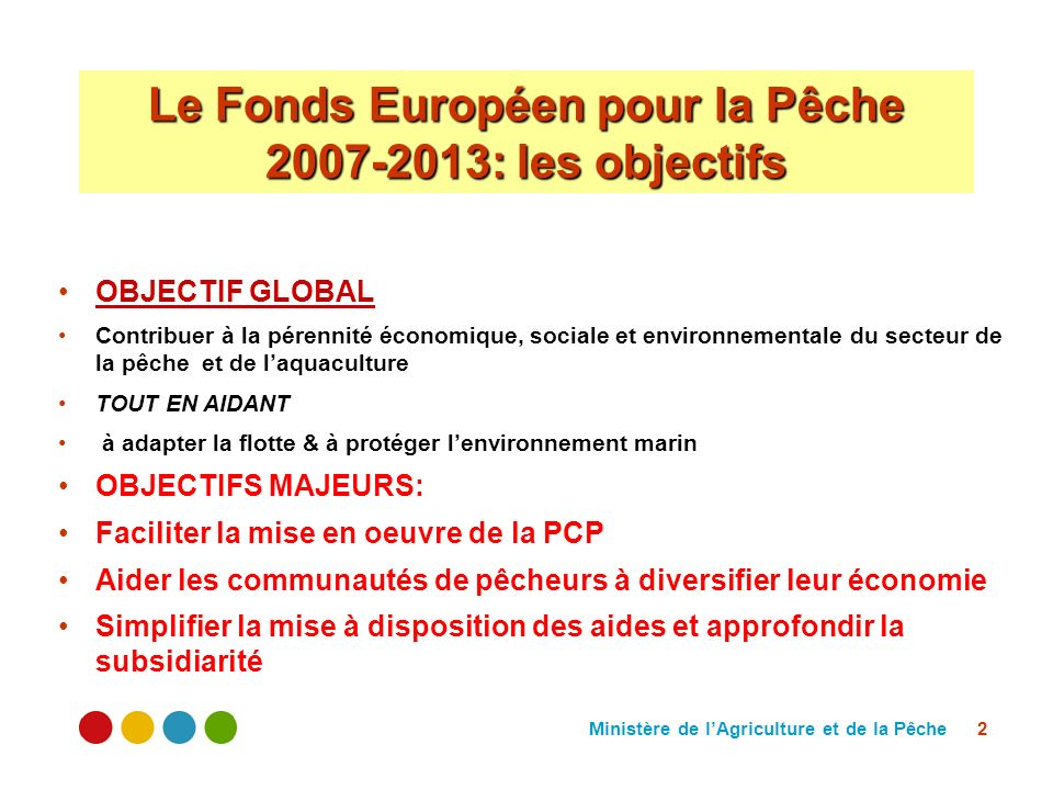 Ministère de lAgriculture et de la Pêche 2 Le Fonds Européen pour la Pêche 2007-2013: les objectifs OBJECTIF GLOBAL Contribuer à la pérennité économique, sociale et environnementale du secteur de la pêche et de laquaculture TOUT EN AIDANT à adapter la flotte & à protéger lenvironnement marin OBJECTIFS MAJEURS: Faciliter la mise en oeuvre de la PCP Aider les communautés de pêcheurs à diversifier leur économie Simplifier la mise à disposition des aides et approfondir la subsidiarité
