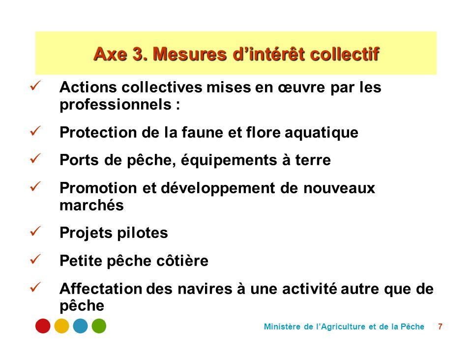 Ministère de lAgriculture et de la Pêche 7 Actions collectives mises en œuvre par les professionnels : Protection de la faune et flore aquatique Ports