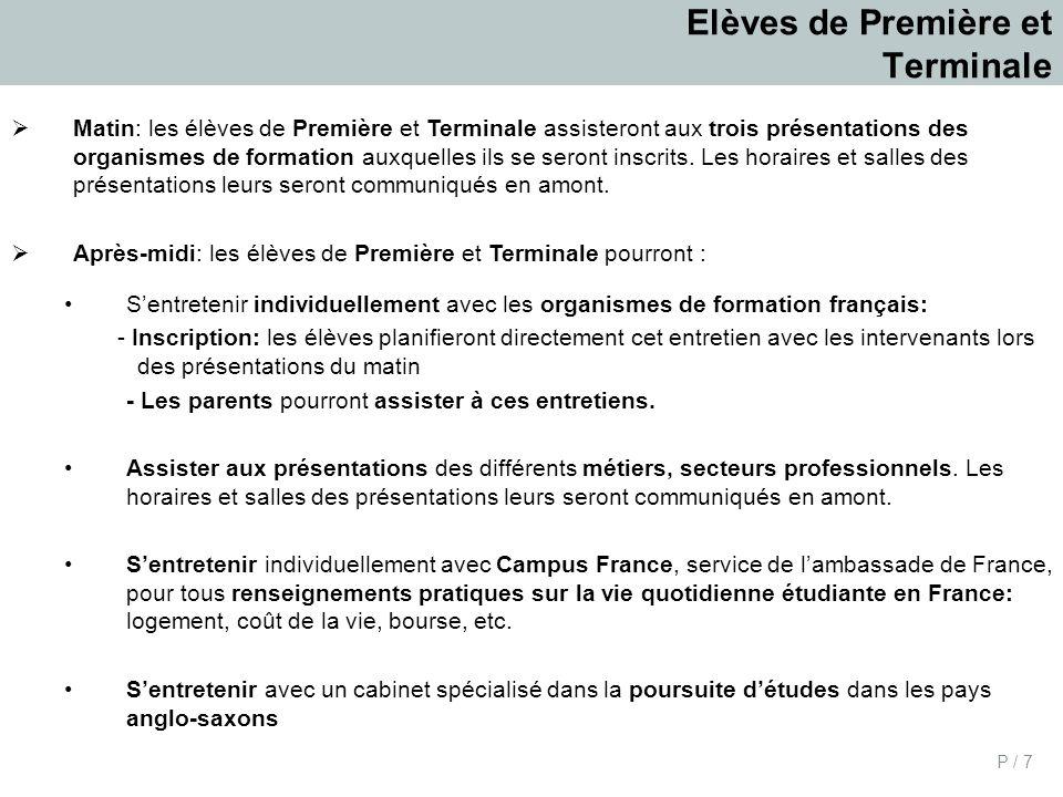 P / 7 Elèves de Première et Terminale Matin: les élèves de Première et Terminale assisteront aux trois présentations des organismes de formation auxquelles ils se seront inscrits.