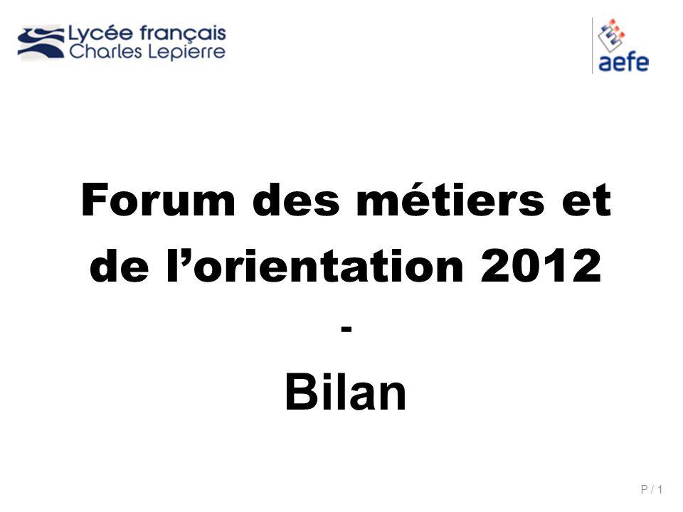 P / 1 Forum des métiers et de lorientation 2012 - Bilan