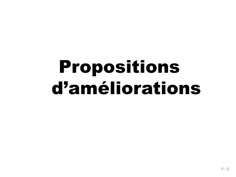 P / 8 Propositions daméliorations