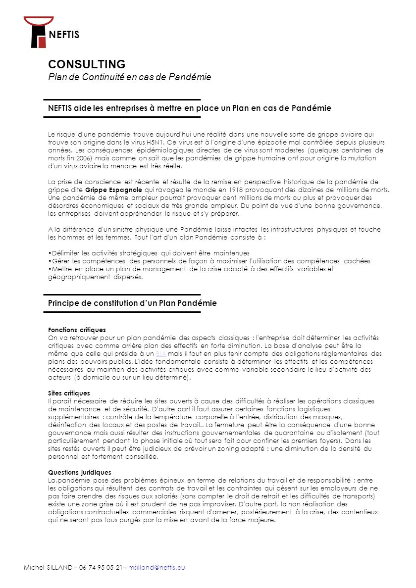 NEFTIS Michel SILLAND – 06 74 95 05 21– msilland@neftis.eu La Gestion des ressources humaines Il est indispensable de maintenir des référentiels spécifiques des personnels.