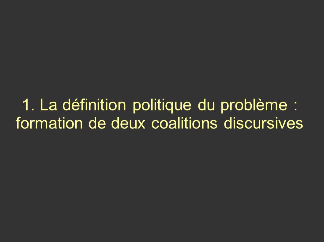 Le concept de coalition discursive (Bruno Jobert) « Les protagonistes de la coalition s accordent autour des termes de définition d une situation » « Au-delà, il n est pas nécessaire de présupposer le partage d un même système de croyances » « Une coalition discursive peut parfaitement réunir des acteurs qui ont des vues contraires des intérêts qu ils entendent promouvoir »