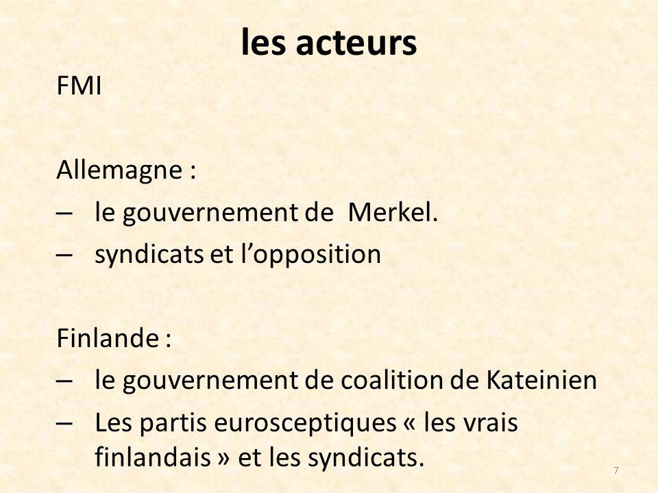 les acteurs FMI Allemagne : – le gouvernement de Merkel.