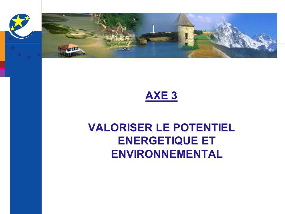 AXE 3 VALORISER LE POTENTIEL ENERGETIQUE ET ENVIRONNEMENTAL