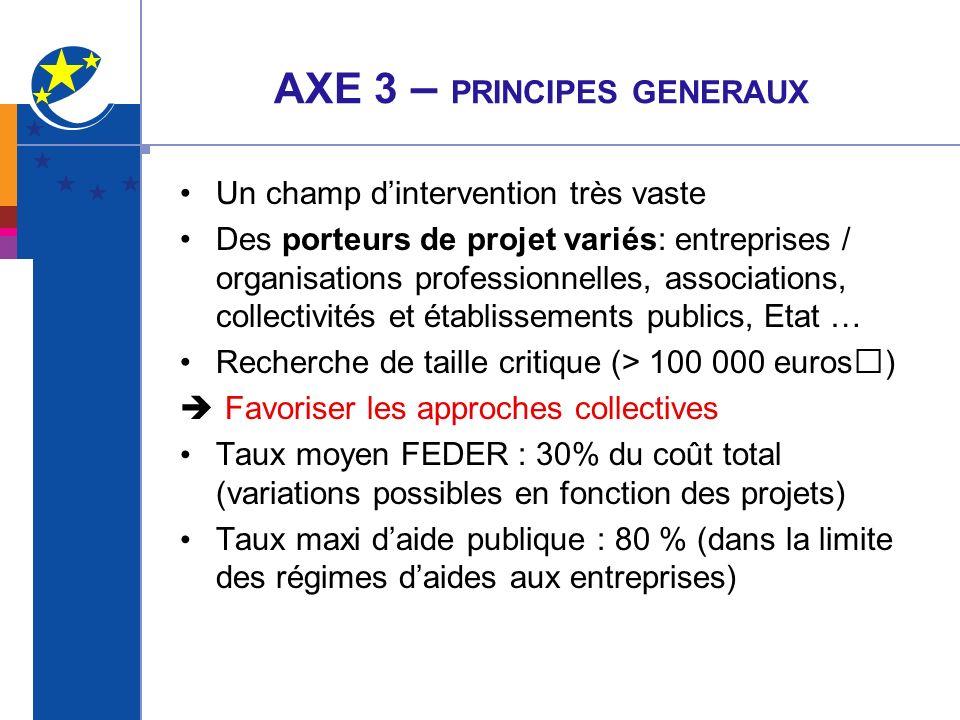 AXE 3 – PRINCIPES GENERAUX Un champ dintervention très vaste Des porteurs de projet variés: entreprises / organisations professionnelles, associations