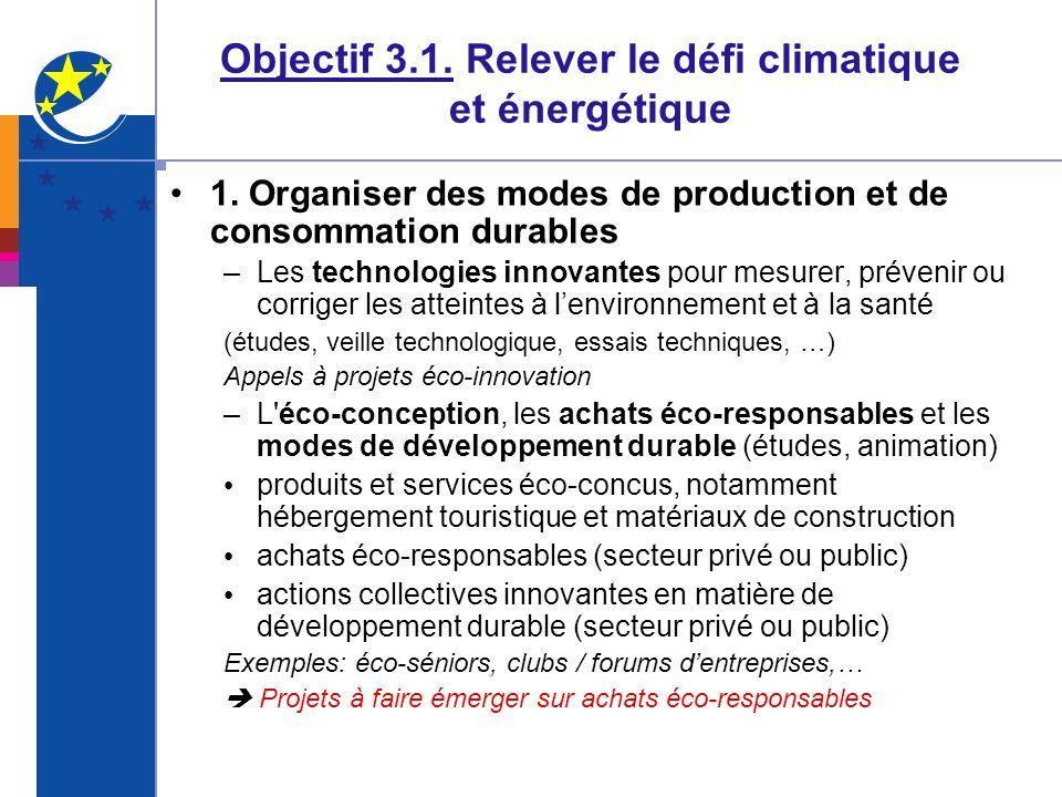 Objectif 3.1. Relever le défi climatique et énergétique 1. Organiser des modes de production et de consommation durables –Les technologies innovantes