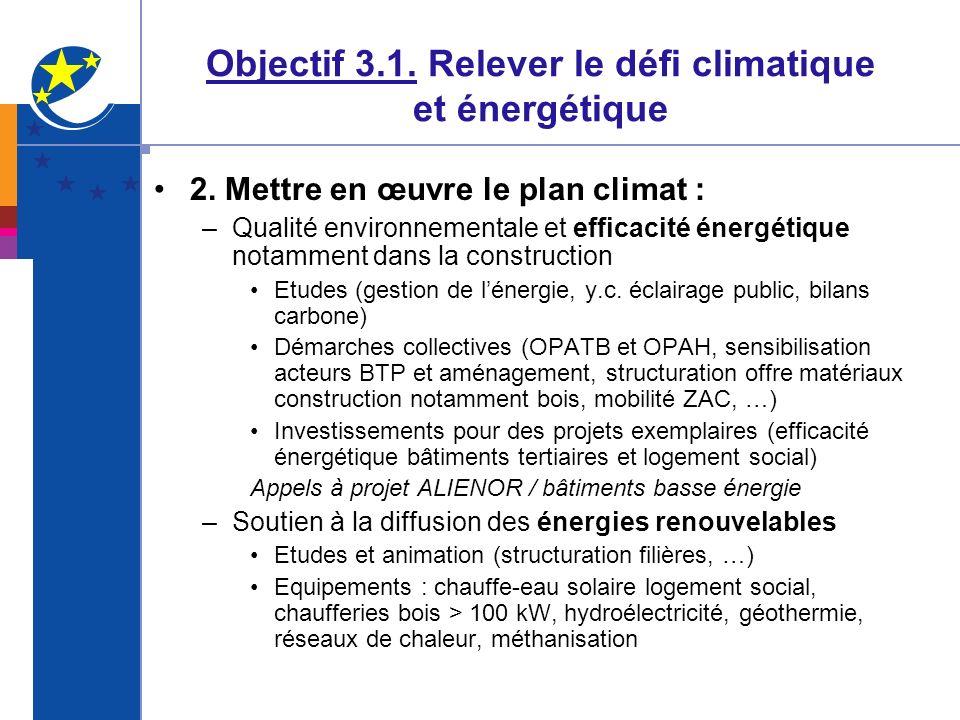 Objectif 3.1. Relever le défi climatique et énergétique 2. Mettre en œuvre le plan climat : –Qualité environnementale et efficacité énergétique notamm