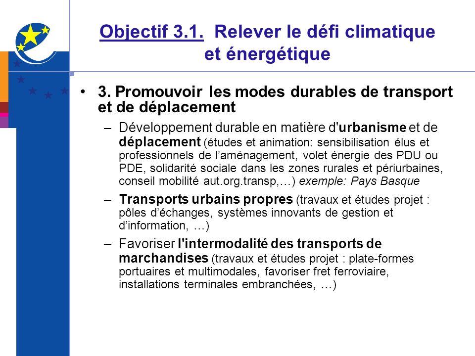 Objectif 3.1. Relever le défi climatique et énergétique 3. Promouvoir les modes durables de transport et de déplacement –Développement durable en mati
