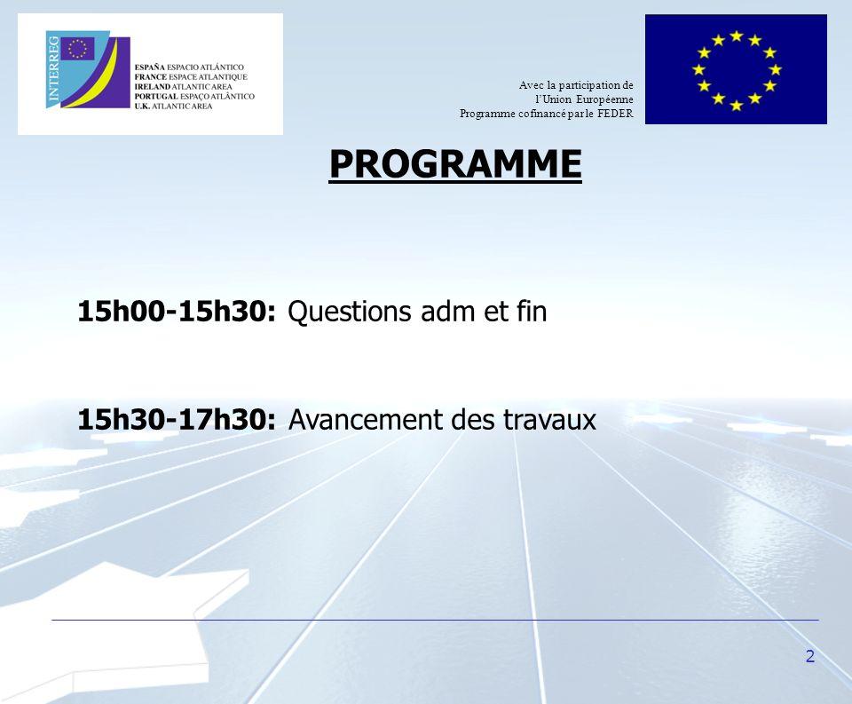 2 PROGRAMME 15h00-15h30: Questions adm et fin 15h30-17h30: Avancement des travaux Avec la participation de lUnion Européenne Programme cofinancé par l
