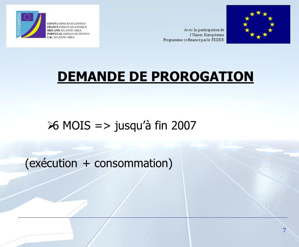 7 DEMANDE DE PROROGATION 6 MOIS => jusquà fin 2007 (exécution + consommation) Avec la participation de lUnion Européenne Programme cofinancé par le FE