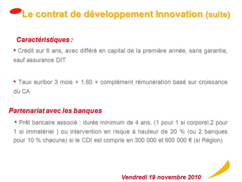 Le Contrat de Développement Innovation Bénéficiaires / Programme : PME innovantes de plus de 3 ans en phase de lancement industriel et commercial PME