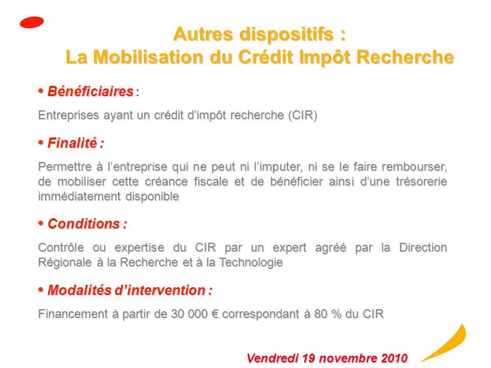 Le contrat de développement Innovation (suite) Caractéristiques : Caractéristiques : Crédit sur 6 ans, avec différé en capital de la première année, s