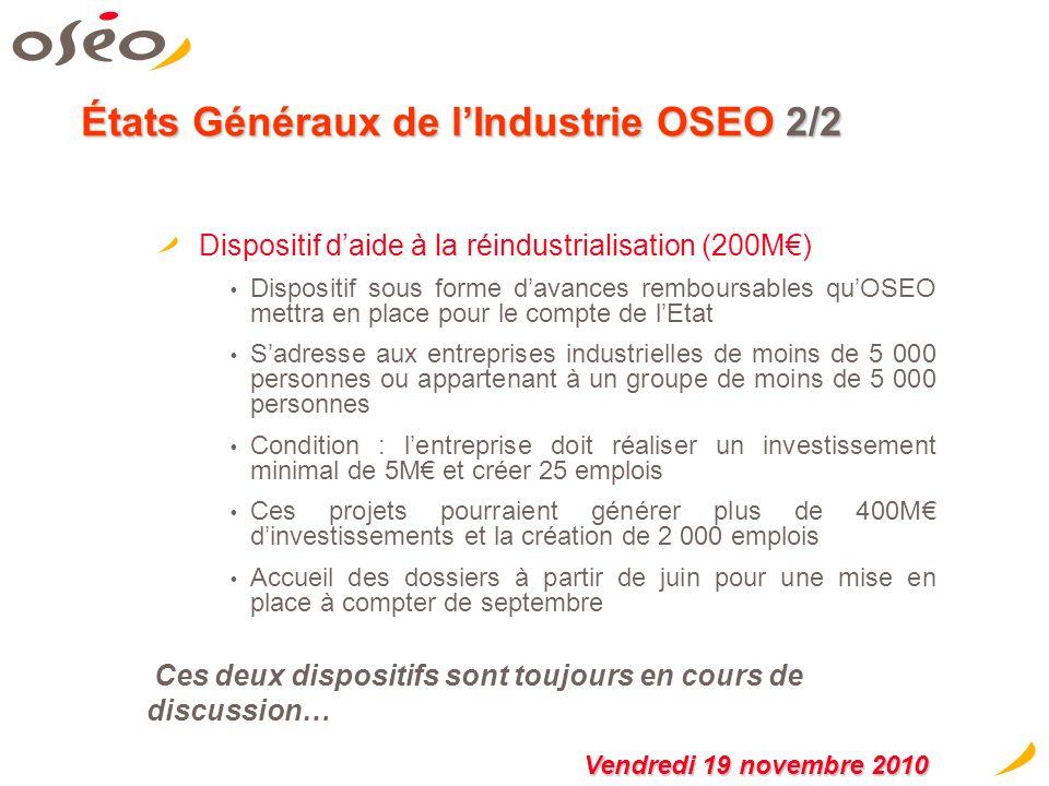 États Généraux de lIndustrie OSEO 1/2 La mise en place de prêts verts bonifiés (500M) 300M de « prêts verts bonifiés » compris entre 50 000 et 3M, mis