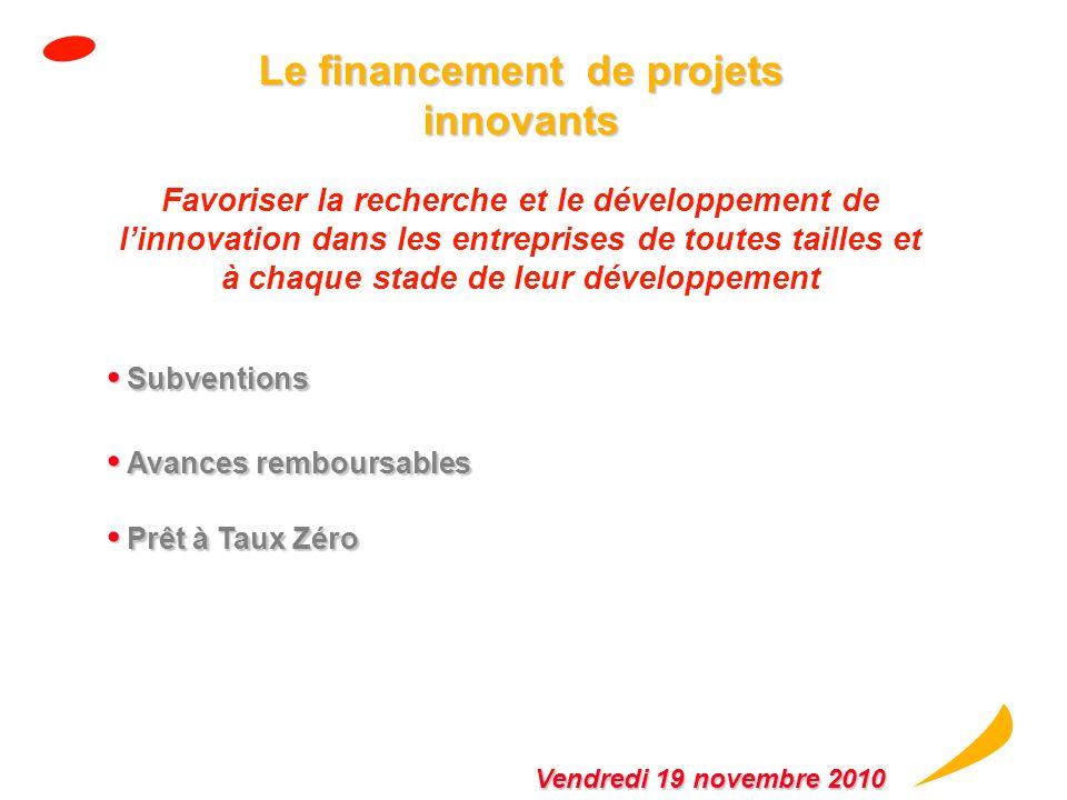 Accompagnement et financement des projets innovants sous forme de subvention et davance remboursable Innovation : Accompagnement et financement des pr