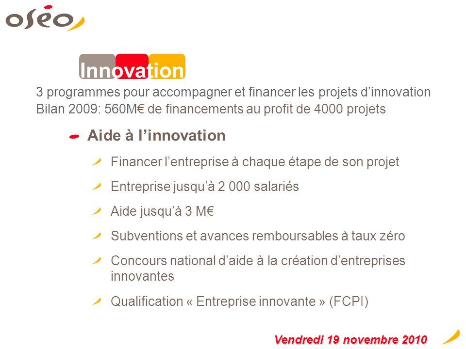 Le financement de projets innovants Favoriser la recherche et le développement de linnovation dans les entreprises de toutes tailles et à chaque stade