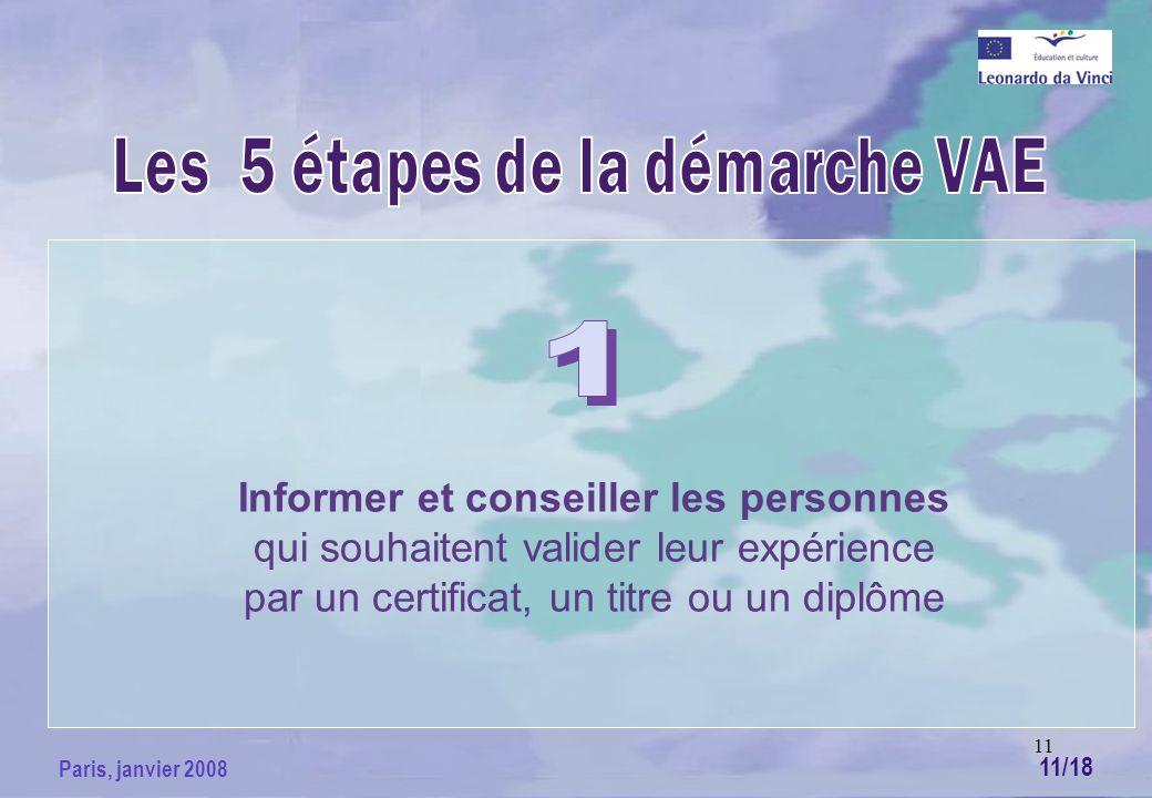 11 Paris, janvier 2008 Informer et conseiller les personnes qui souhaitent valider leur expérience par un certificat, un titre ou un diplôme 11/18