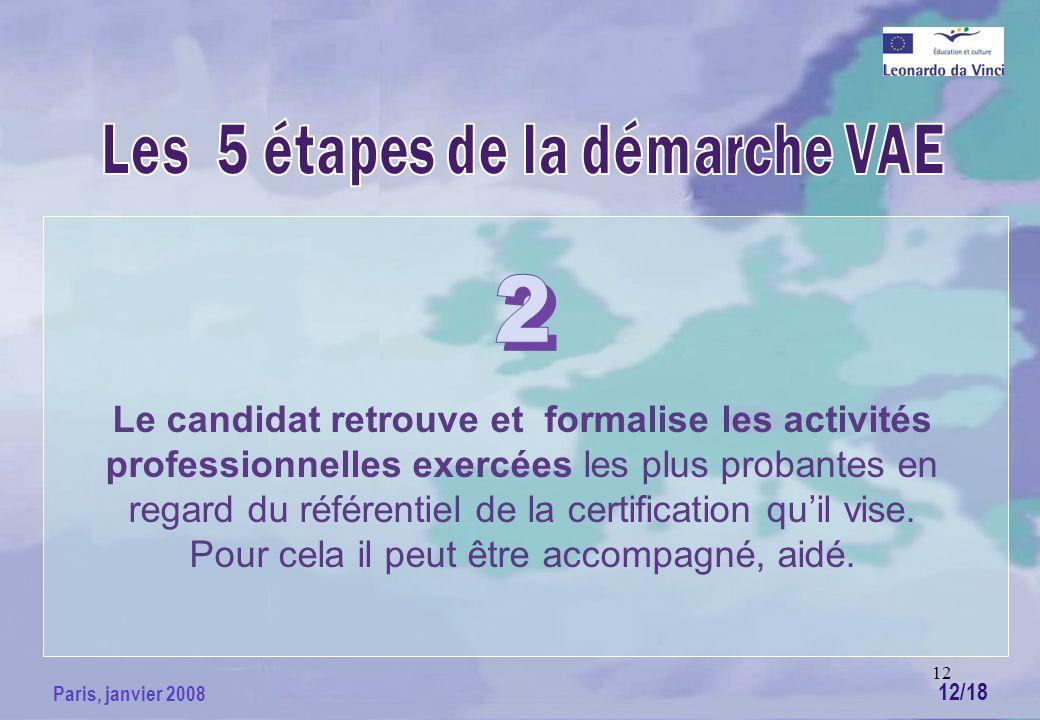 12 Paris, janvier 2008 Le candidat retrouve et formalise les activités professionnelles exercées les plus probantes en regard du référentiel de la certification quil vise.