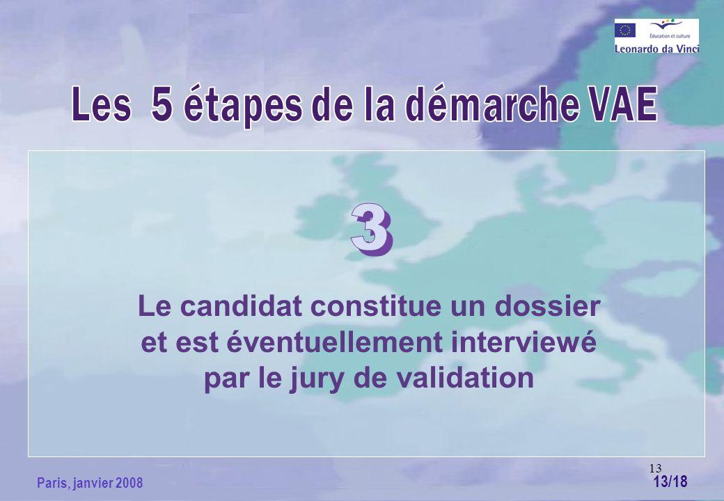 13 Paris, janvier 2008 Le candidat constitue un dossier et est éventuellement interviewé par le jury de validation 13/18