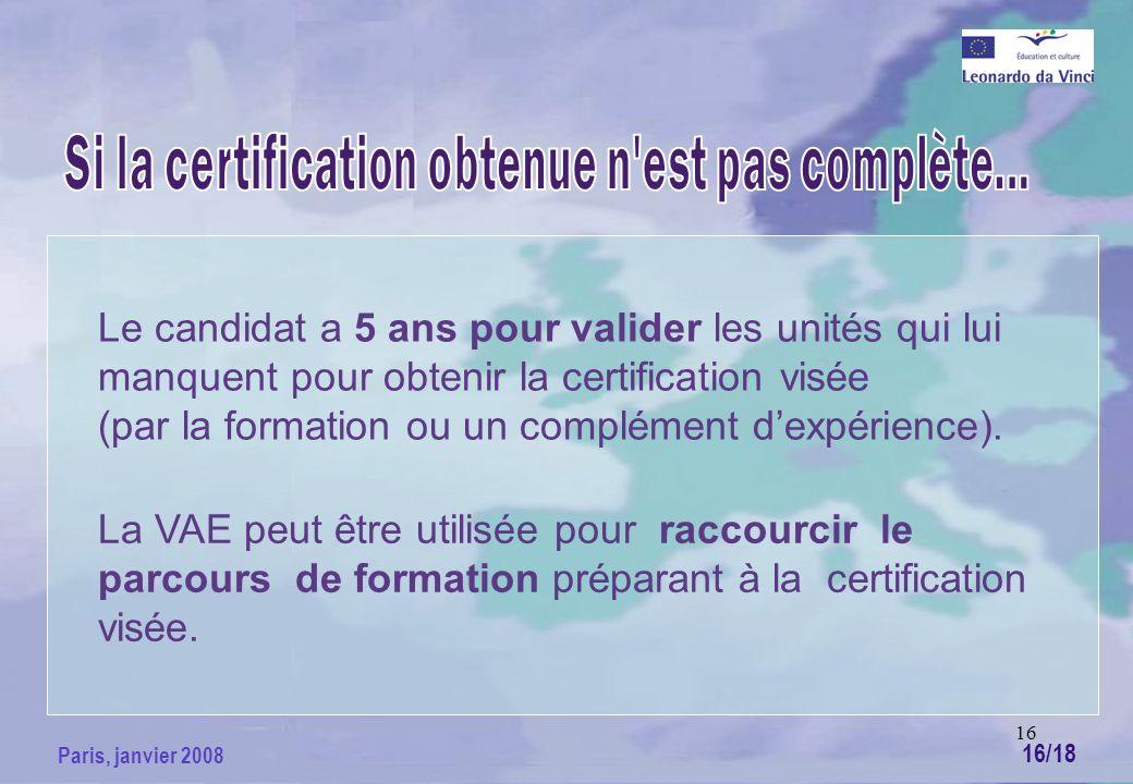 16 Paris, janvier 2008 Le candidat a 5 ans pour valider les unités qui lui manquent pour obtenir la certification visée (par la formation ou un complément dexpérience).