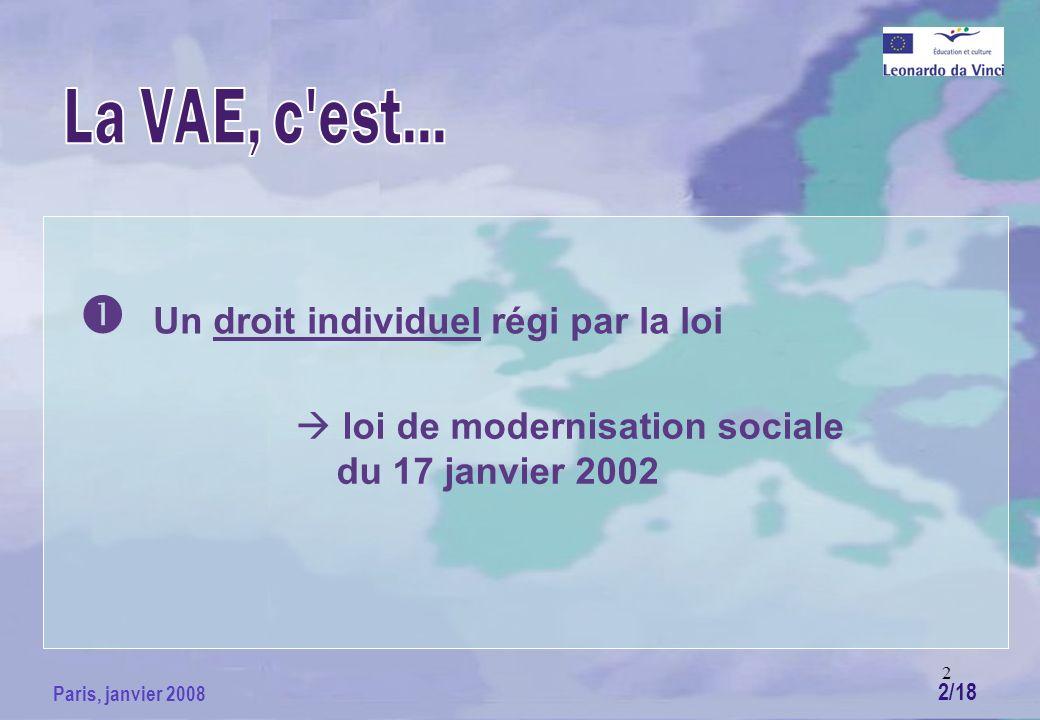 2 Paris, janvier 2008 Un droit individuel régi par la loi loi de modernisation sociale du 17 janvier 2002 2/18
