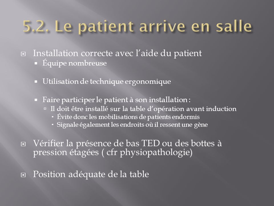 Installation correcte avec laide du patient Équipe nombreuse Utilisation de technique ergonomique Faire participer le patient à son installation : Il