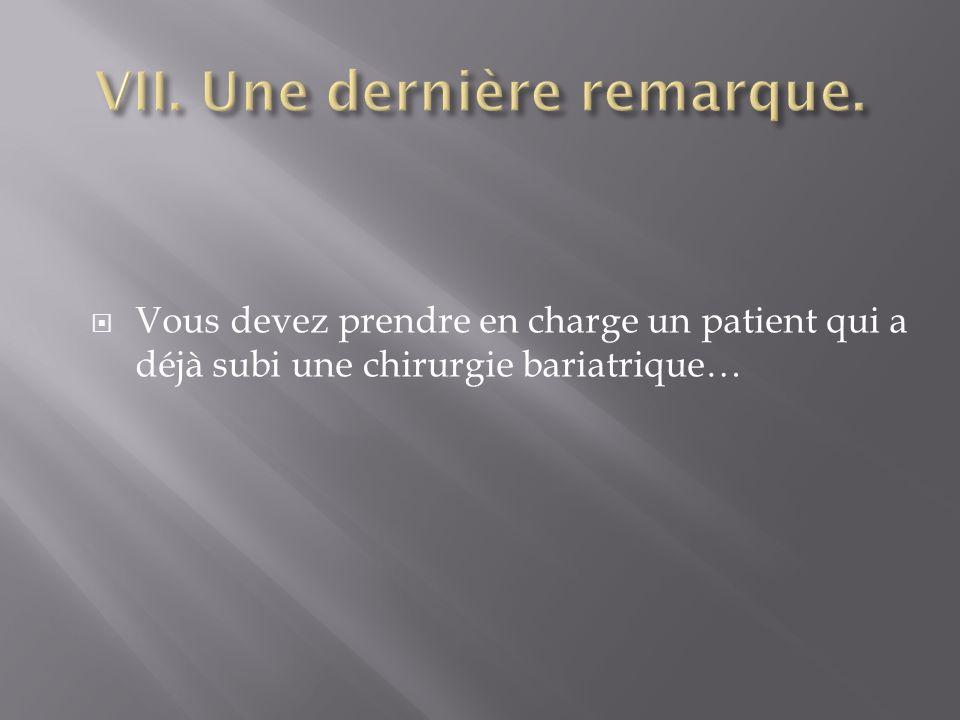 Vous devez prendre en charge un patient qui a déjà subi une chirurgie bariatrique…