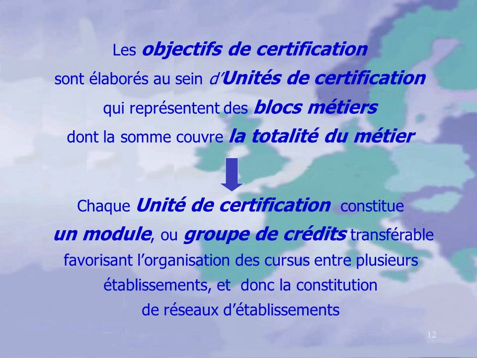 12 Les objectifs de certification sont élaborés au sein d Unités de certification qui représentent des blocs métiers dont la somme couvre la totalité du métier Chaque Unité de certification constitue un module, ou groupe de crédits transférable favorisant lorganisation des cursus entre plusieurs établissements, et donc la constitution de réseaux détablissements