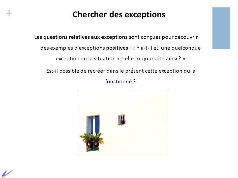 + Chercher des exceptions Les questions relatives aux exceptions sont conçues pour découvrir des exemples d'exceptions positives : « Y a-t-il eu une q
