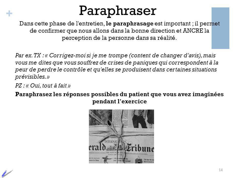 + Paraphraser Dans cette phase de l'entretien, le paraphrasage est important ; il permet de confirmer que nous allons dans la bonne direction et ANCRE