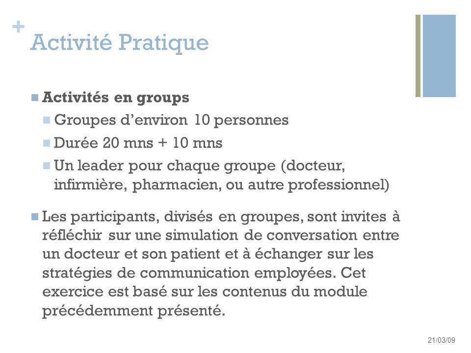+ Activité Pratique Activités en groups Groupes denviron 10 personnes Durée 20 mns + 10 mns Un leader pour chaque groupe (docteur, infirmière, pharmac