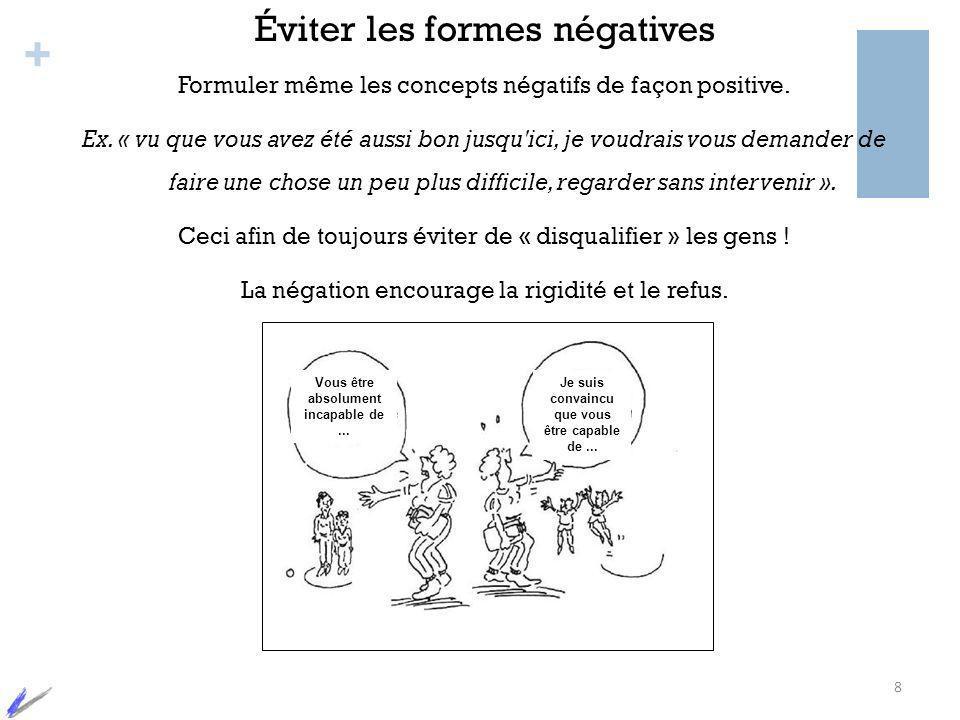+ Éviter les formes négatives Formuler même les concepts négatifs de façon positive. Ex. « vu que vous avez été aussi bon jusqu'ici, je voudrais vous