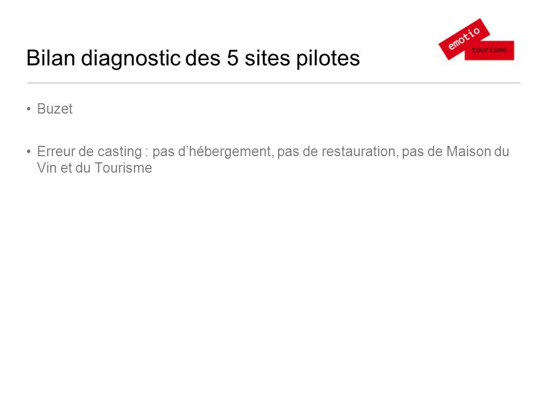 Bilan diagnostic des 5 sites pilotes Buzet Erreur de casting : pas dhébergement, pas de restauration, pas de Maison du Vin et du Tourisme