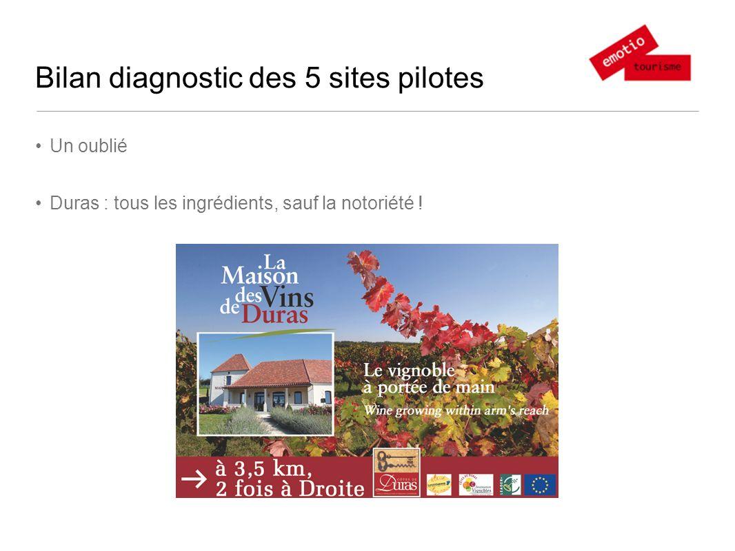 Bilan diagnostic des 5 sites pilotes Un oublié Duras : tous les ingrédients, sauf la notoriété !