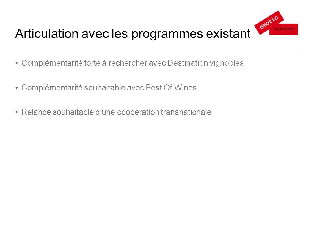Articulation avec les programmes existants Complémentarité forte à rechercher avec Destination vignobles Complémentarité souhaitable avec Best Of Wines Relance souhaitable dune coopération transnationale