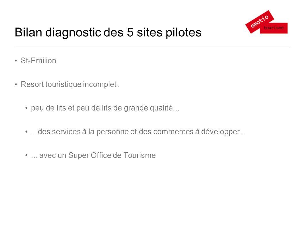 Bilan diagnostic des 5 sites pilotes Margaux Une offre ciblée sur les oeno-fans